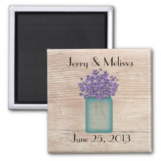 Blue Mason Jar Violets Wedding Favor Magnet