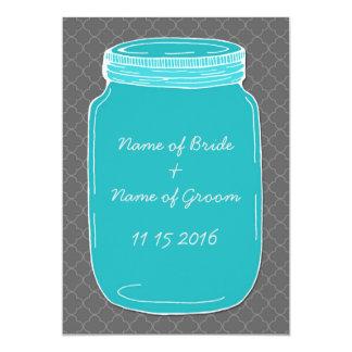Blue Mason Jar Wedding Rehearsal Dinner Party Card