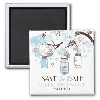 Blue Mason Jars & Flowers Save the Date Magnet