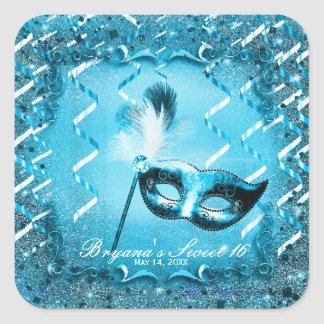 Blue Masquerade Mask Elegant Ball Party Square Sticker