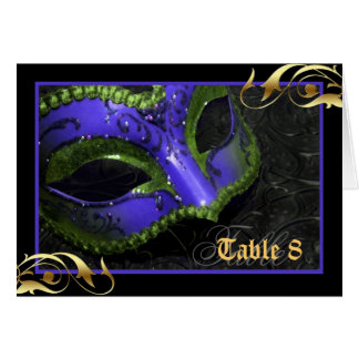 Blue Masquerade Mask Table Number Card