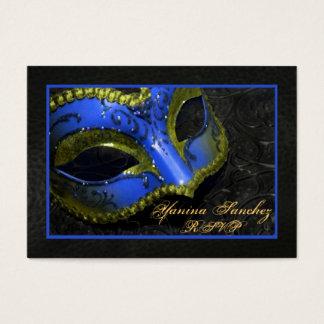 Blue Masquerade RSVP Business Cards