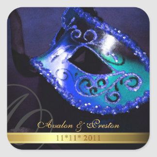 Blue Masquerade Swirl Save The Date Sticker