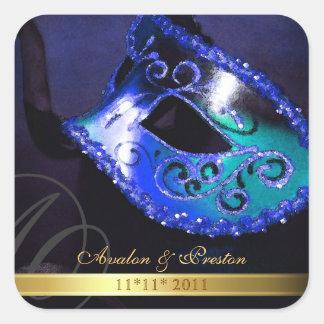 Blue Masquerade Swirl Save The Date Sticker