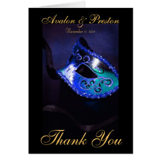 Blue Masqurade Mask Thank You Note Card