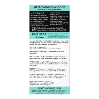 blue massage and spa brochure card rack cards