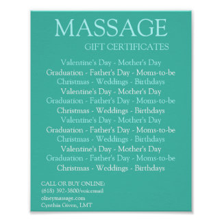 BLUE massage gift certificates Posters