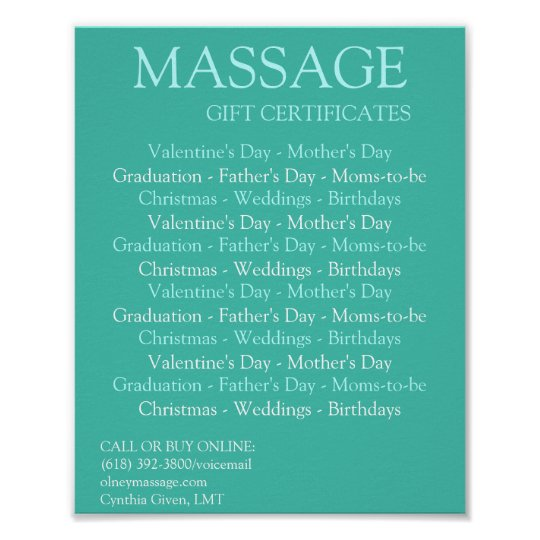 BLUE massage gift certificates Poster