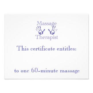Blue Massage Hands Gift Certificate Custom Announcement