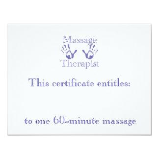 Blue Massage Hands Gift Certificate 4.25x5.5 Paper Invitation Card