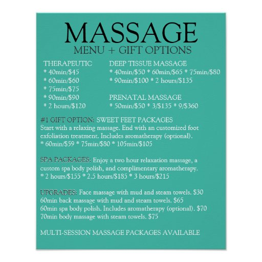 Massage posters massage prints art prints poster for Massage price list template