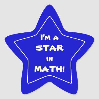 Blue Math Star Student Stickers