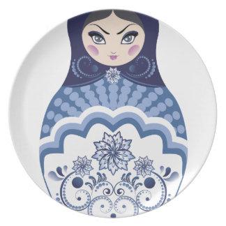 Blue Matryoshka Doll Melamine Plate