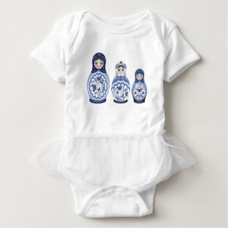 Blue Matryoshka Dolls Baby Bodysuit