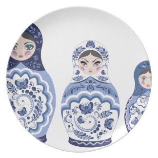 Blue Matryoshka Dolls Dinner Plate