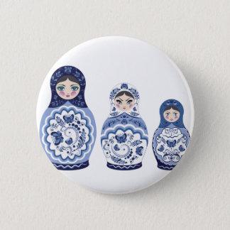 Blue Matryoshka Dolls Pinback Button