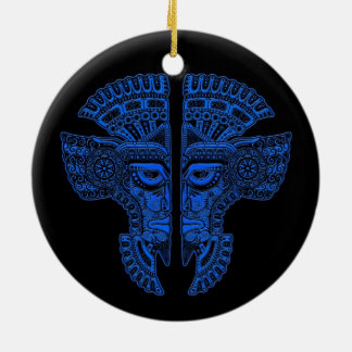 Blue Mayan Twins Mask Illusion on Black Double-Sided Ceramic Round Christmas Ornament
