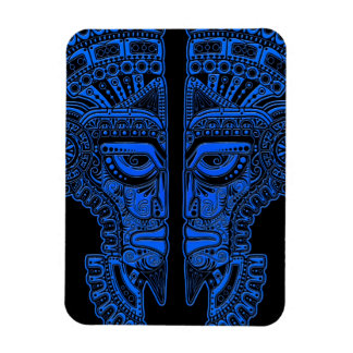 Blue Mayan Twins Mask Illusion on Black Rectangle Magnets