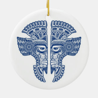 Blue Mayan Twins Mask Illusion on White Double-Sided Ceramic Round Christmas Ornament