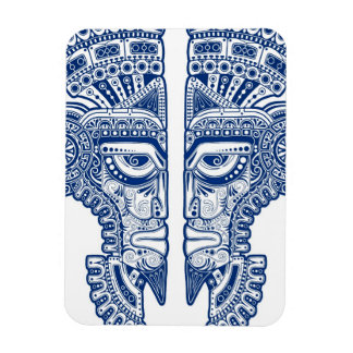 Blue Mayan Twins Mask Illusion on White Flexible Magnets