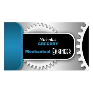 Blue Mechanical Engineer Gear Business Cards
