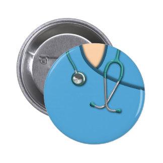 Blue Medical Scrubs Button