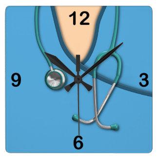 Blue Medical Scrubs Square Wallclocks