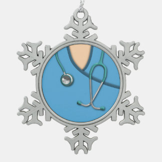 Blue Medical Scrubs Snowflake Pewter Christmas Ornament