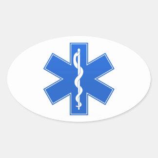 Blue Medical Sign Oval Sticker