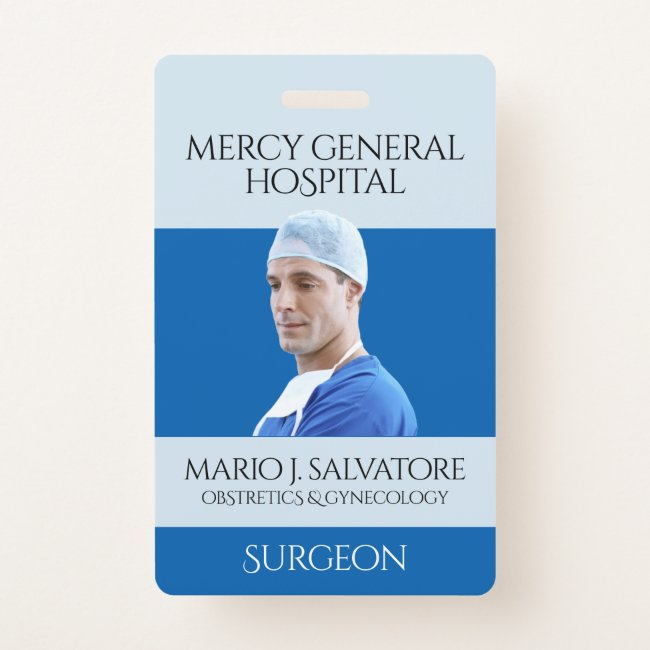 Blue Medical Surgeon Doctor Caduceus Hospital Badge