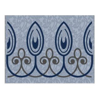 Blue Medieval Brocade Save the Date Postcard