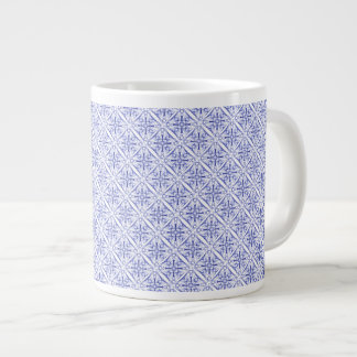 Blue Medieval Fractal Pattern Giant Coffee Mug