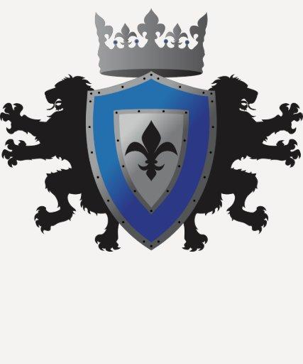 "Blue Medieval Lion Heraldry 3/4"" Raglan Shirt"