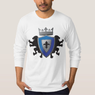 Blue Medieval Lion Heraldry Fitted Long Sleeve T-Shirt