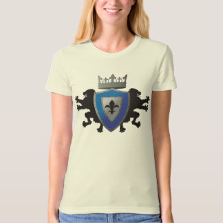 Blue Medieval Lion Heraldry Ladie's Fitted Organic T-Shirt