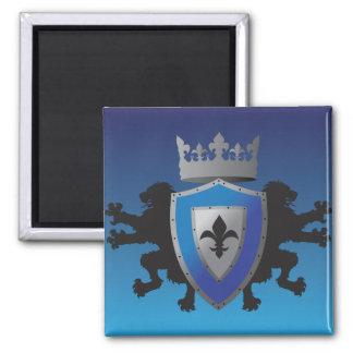 Blue Medieval Lion Heraldry Magnet