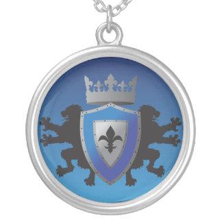 Blue Medieval Lion Heraldry Necklace