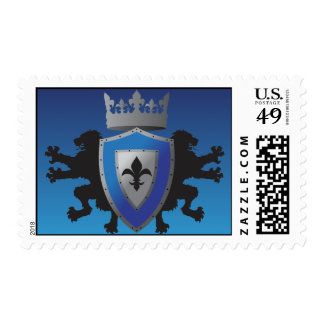 Blue Medieval Lion Heraldry Postage Stamps