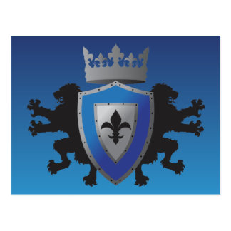 Blue Medieval Lion Heraldry Postcard