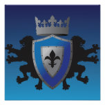 Blue Medieval Lion Heraldry Poster
