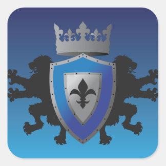 Blue Medieval Lion Heraldry Stickers