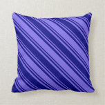 [ Thumbnail: Blue & Medium Slate Blue Lines/Stripes Pattern Throw Pillow ]