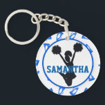 "Blue Megaphones and Cheerleader Personalized Photo Keychain<br><div class=""desc"">Design features a white background with blue megaphone pattern. In the center is a white circle with blue trim. Inside the circle is a black silhouette of a cheerleader jumping in the air with outstretched arms holding pom poms. Across the center is a place to personalize with a name in...</div>"