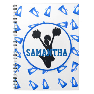 Blue Megaphones and Cheerleader Personalized Spiral Notebook