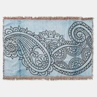 Blue Mehndi Motif Throw Blanket