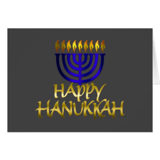 Blue Menorah Flames Happy Hanukkah Card