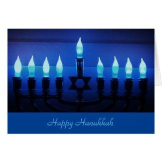 Blue Menorah Hanukkah Card