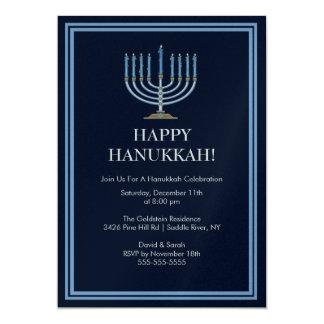 Blue Menorah Hanukkah Celebration Invitation
