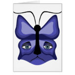 Blue Meow Mask Greeting Card