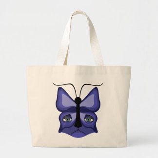 Blue Meow Mask Large Tote Bag